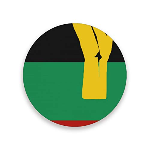 Black Power Pan African Flag Coasters for Drinks 3.9 Inches Ceramic Stone Drink Coaster with Cork Back for Home, Bar, Protect Tables from Water and Scratches