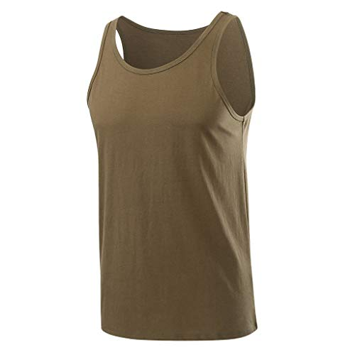 TOPUNDER Men Fitness Muscle Solid Sleeveless Bodybuilding Tight-Drying Vest Tops Blouses Army Green