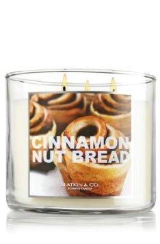 Bath and Body Works Cinnamon Nut Bread 3 Wick Candle 14.5oz -