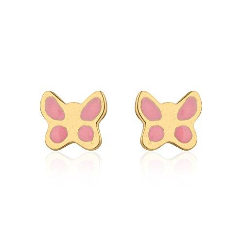 Yellow Gold Enamel Butterfly Earrings - 14K Solid Yellow Gold Enamel Butterfly Screw Back Stud Earrings for Girls Gift Children Kids