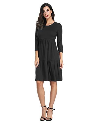 Caroline Dress Dresses Solid - Akivide Womens 3/4 Sleeve Knee Length Dress Black S