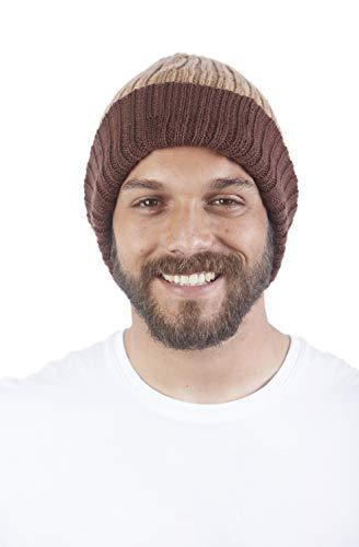 Reversible Wool Beanie - Raymis 100% Alpaca Wool Soft Reversible Men´s Beanie Skullie Hat (Brown/Beige)