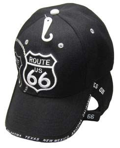 (JumpingLight Route 66 RTE 66 Get Your Kicks State Highway Black Embroidered Cap Hat (TW) for Home, Official Party, All Weather Indoors Outdoors)