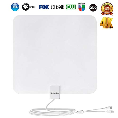 [2018 Upgraded] Amplified Digital HDTV Antenna 50-75Miles Reception Range with Newest Built-in Amplifier,USB Power Supply,13.2ft Coax Cable