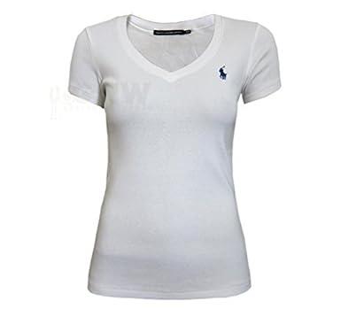 Ralph Lauren Damen T-Shirt Kurzarm V-Ausschnitt T-Shirt Schwarz Rosa  Marineblau Weiß S M L XL - S, Weiß: Amazon.de: Bekleidung