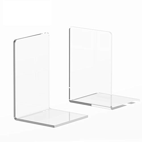 (Book Ends, 2 PCS Crystal Clear Acrylic Bookends, Book Ends for Shelves, Large Size 7.1x4.7 inches Support Tons of Books, Elegant Decor in Office, School)