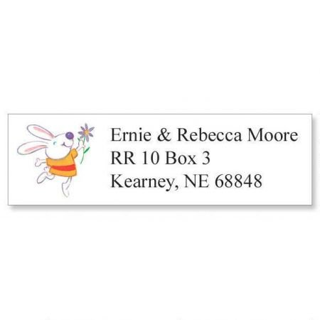 (Personalized Bunny Small Easter Address Labels - Set of 240 Self-Adhesive, Flat-Sheet rectangle labels)