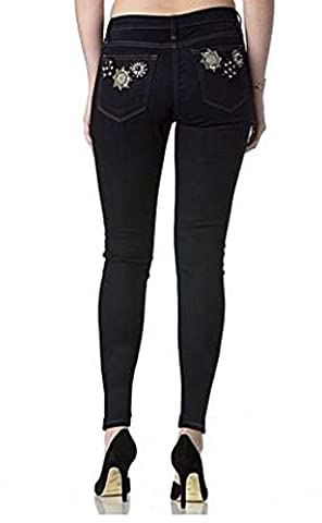 Miss Me Jeans Women's Dark Rinse Wash Black & Gold Sequin Flower Pockets Ankle Skinny (27) - Sequin Pocket Jean
