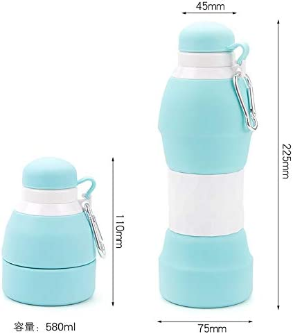 Reusable BPA Free Sunnys Products Collapsible Platinum Silicone Water Juice Bottle 580ml Hot and Cold Safe