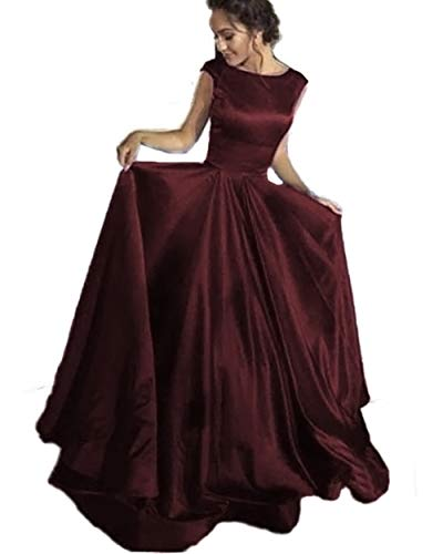 Lover Kiss Maroon Satin Prom Dresses Long Cap Sleeves Backless Formal Evening Ball Gown for -