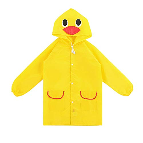 - StyleZ Children Raincoat Cartoon Cute Yellow Duck Waterproof Hooded Kids Rain Jacket Poncho for Boys and Girls Age 5-12 (YellowDuck)