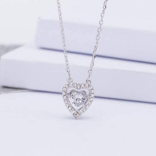 Always insist on success - Collar con Colgante Chapado en Oro Rosa y Cristal Blanco Brillante para Mujer con Forma de corazón y Cadena de Diamante A h4agTe