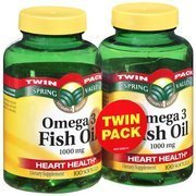 Spring Valley – Fish Oil 1000 mg, Omega-3, All Natural, Regular Strength Twin-Pack – 2 Bottles of 100 Softgels Each., Health Care Stuffs