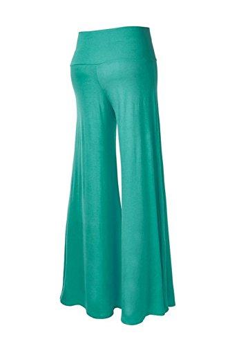 Las Mujeres De Cintura Elastica Alta Llanura Casual Yoga Pantalones De Pierna Ancha Deportes Full Length Green
