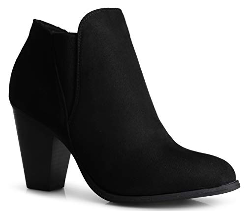 LUSTHAVE Womens Chunky Heel Ankle Bootie - Comfort Stretchy Bock Heel Boots