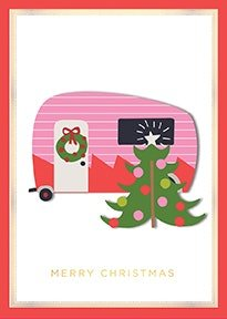 Handmade Dimensional Christmas Tree Travel Trailer Boxed Holiday Cards By Anna Griffin -- Set of 10 Cards and - Happy Trailers Christmas