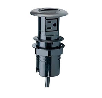 Charmant Carlon RWSR Retractable Work Surface Receptacle, Black