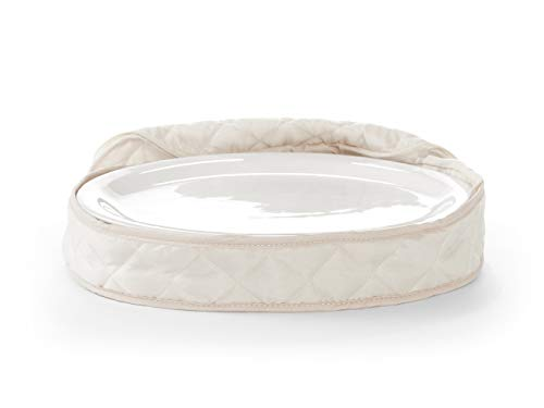Oval Storage Platter - Covermates - Small Oval Platter Storage 13L x 9W x 3H - Diamond Collection - 2 YR Warranty - Year Around Protection - Cream