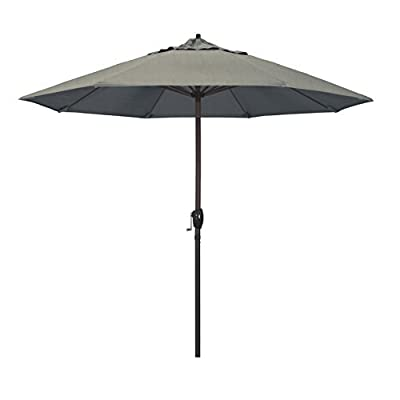 "California Umbrella 9' Round Aluminum Market Umbrella, Crank Lift, Auto Tilt, Bronze Pole, Sunbrella Spectrum Dove - Overall dimensions (l x w x h): 108"" x 108"" x 102"" Automatic Tilt is built into the crank handle-Just crank to lift and tilt the umbrella All aluminum frame and ribs with resin housing and hub - shades-parasols, patio-furniture, patio - 31ixmLOhtpL. SS400  -"