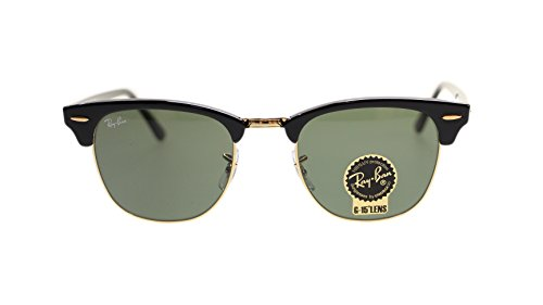 Ray Ban Clubmaster Sunglasses RB3016 W0365 Black//Green 51mm - W0365 Rb3016 Clubmaster
