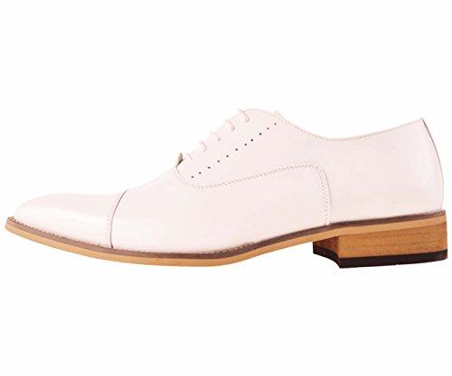 Scarpa Elegante Uomo Amali In Pelle Oxford Con Suola Color Legno Stile Clark Bianco