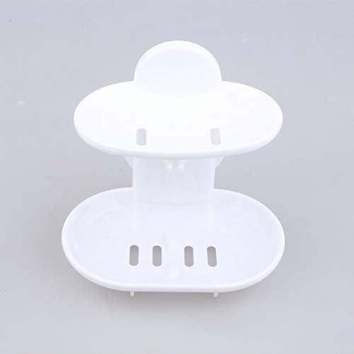 ファッショナブルな二重層ホーム浴室の石鹸皿ホルダーラック強い吸引カップ型石鹸バスケットトレイオーガナイザーホワイト