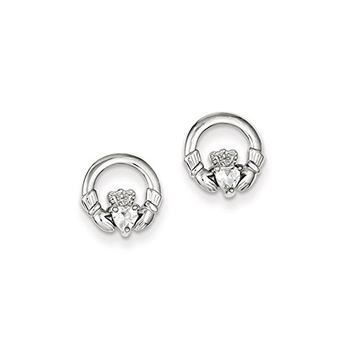 10mm CZ Claddagh Post Earrings in Sterling - Claddagh Earrings Sterling Silver