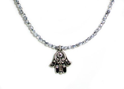 Michal-Golan-Silver-Plated-Small-Black-Enamel-Hamsa-Hand-Pendant-with-Beaded-Necklace