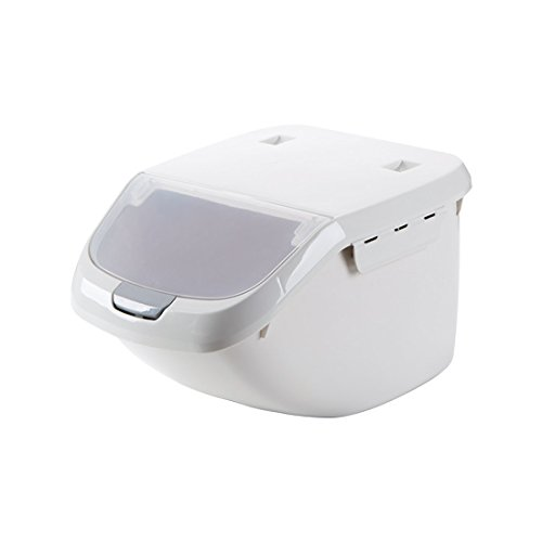 Plastic sealed insect-resistant rice box 30 pounds rice cylinder Household placed flour storage box kitchen-moulded rice barrel gray small Moulded Cylinder