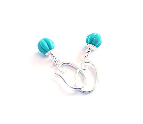 - Turquoise earrings with melon shaped beads - sterling silver - modern boho style