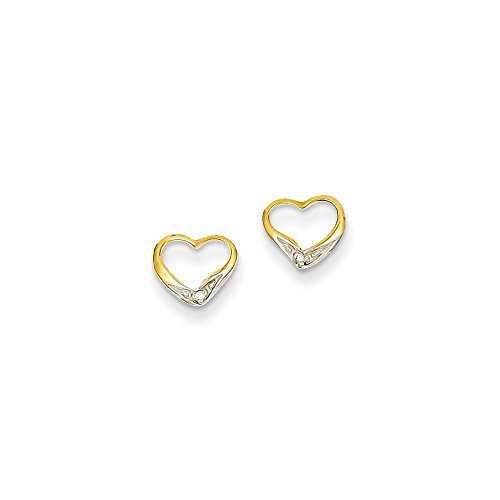 14k Yellow Gold & Rhodium AA Diamond Diamond Heart Post Earrings (Earrings 14k Diamond Gold Heart)
