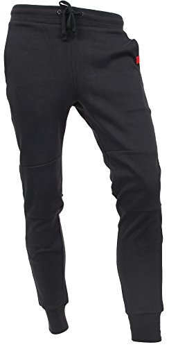 Hat and Beyond Casual Fleece Jogger Pants Active Elastic Urban Slim Fit DP-61 (Small, DP-61 Black)