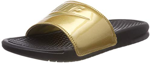 Nike Womens WMNS Benassi JDI Black Metallic Gold Size 6