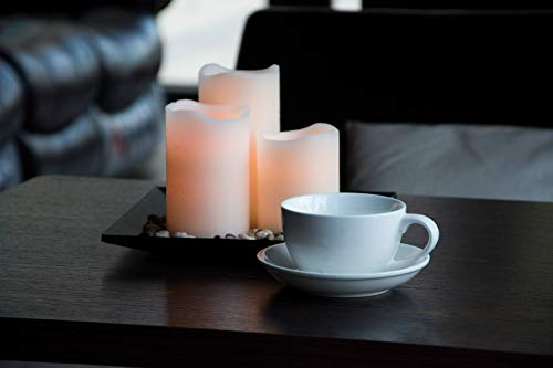 Flameless Candles Set Classic Ivory Real Wax Pillar Battery Operated Candles LED Candle Tray Home Decoration Safe Flickering Dancing Flameless Candles(H4'' 5'' 6''),Sets of 3 with Tray & Rocks Pebble by CHARAVECTOR (Image #5)