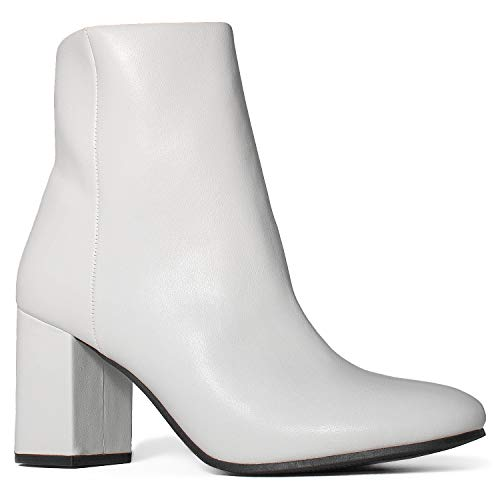 0904219df RF ROOM OF FASHION Women's Round Toe Chunky Heeled Side Zip Slim Fit Ankle  Booties White