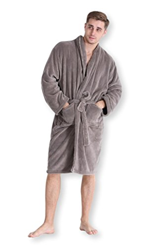 1b4b8948b4 Pembrook Men s Robe - Soft Fleece - Kimono Hotel Spa Bathrobe ...