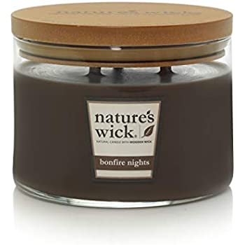 Nature's Wick Bonfire Nights Scented Candle 18 oz. 3 Wick Jarred Candle Natural Wood Wick Candle with up to 48 Hour Burn Time