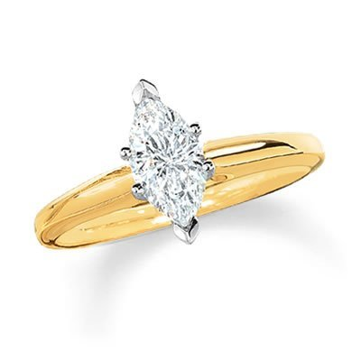 (0.95 Carat Near 1 Carat Marquise Shape 14K Yellow GoldSolitaire Diamond Engagement Ring)