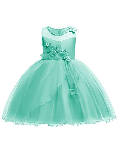 JOYMOM Wedding Dress for Girls, Juniors 2018 Summer Fashion 3D Flower Applique Party Gowns Kids Garden Ball Dresses for Guests Mint Green Size (150) 9-10 Years