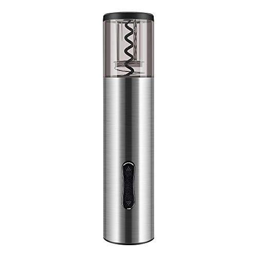 Pekyok Electric Wine Bottle Opener, DT03 Rechargeable Stainless Steel Wine Opener Professional Electric Corkscrew With USB Charging Cable Foil Cutter Led Light for Home, Winery, Party and As Gift – Gray