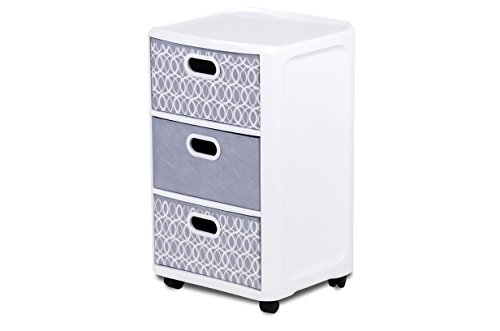 Home Logic Grey Paisley Storage 3 Drawer Fabric Cart, Large, White, Grey (Storage Containers Drawers)