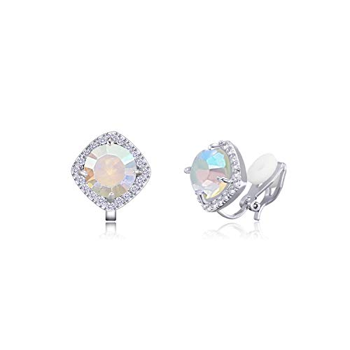 (YOQUCOL 7mm AB Color Cubic Zirconia Crystal Clip On Square Non Pierced Stud Earrings For Women)