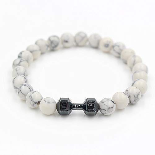 Bingo Point Unisex White Howlite Stone Bead Barbell Jewelry Bead Bracelet Women Fitness Prayer Dumbbell Bracelets for Men -