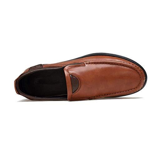 Hombre A Diario Cuero Zpedy De Darkbrown Ocio Grano Perezosos Zapatos Mano Un Gamuza Pie Costuras PwH5ORqHW