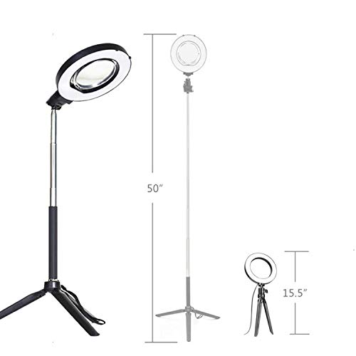 Ring Light with Stand for Camera Live Stream Makeup Phone,Dimmable LED Selfie Ring Light for Phone Video Shooting