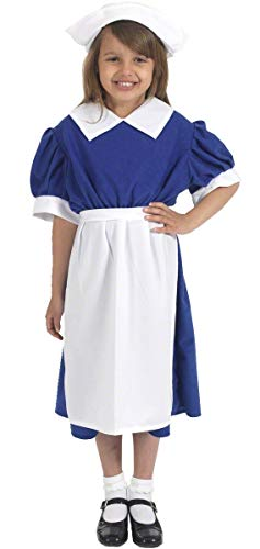 Girls Child's Old Fashioned 1940s WW2 WW1 Wartime Nurse Fancy Dress Costume Outfit (8-10 Years (140cms)) -