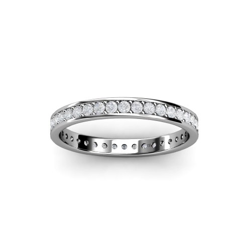 White Sapphire Channel with Prong Set Eternity Band 0.62ct tw to 0.70ct tw in 18K Gold