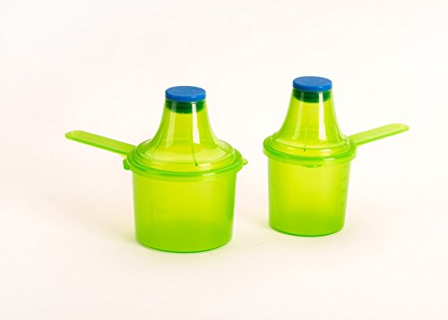 Scoopie 2 Pack | Portable Scoop and Funnel Travel Container | Pre and Post Workout Supplement Pack | On The Go Powder Dispenser For Water Bottles and Shaker Bottles (60cc / 90cc, Green - 2 Count)
