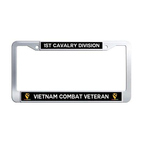 Makoncase 1st Cavalry Division Vietnam Combat Veteran License Plate Frame Holder,Stainless Steel US Army Military Ribbon Car Tag ()