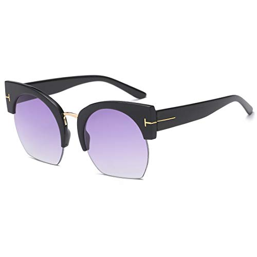 UV Black Lunettes Black Frame de Silver Lunettes Protection Anti Frame Soleil Couleur Purple Lens Femme De LBY Lens x1Xw6Ivq